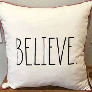 Rae Dunn Christmas BELIEVE pillow